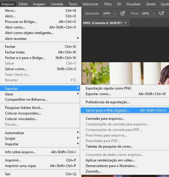 Função Salvar para Web implementada no Photoshop afim de otimização de imagens para internet