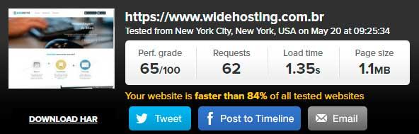 Teste de velocidade WideHosting Pingdom