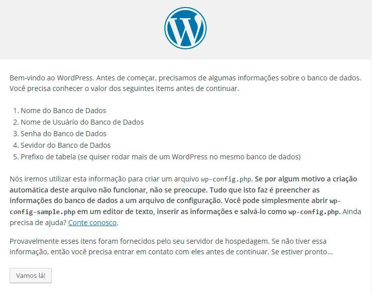 Primeira tela de instalação do WordPress